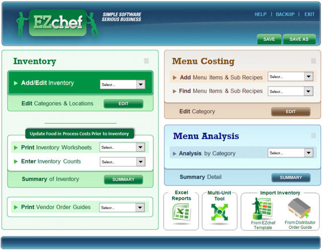 ezchef restaurant inventory management menu costing and analysis