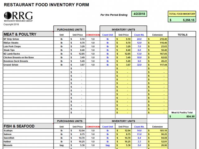 Food And Beverage Inventory Workbook Spreadsheet
