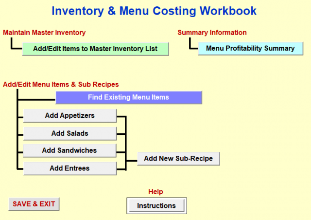 restaurant inventory and menu costing workbook spreadsheet